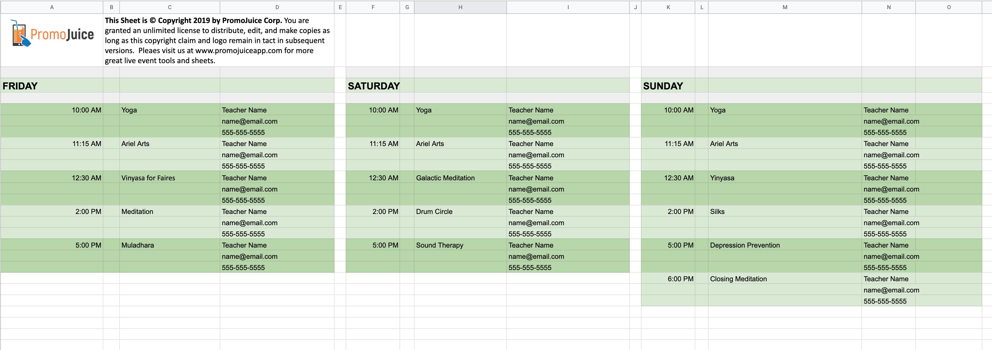 Music Festival Workshop Schedule