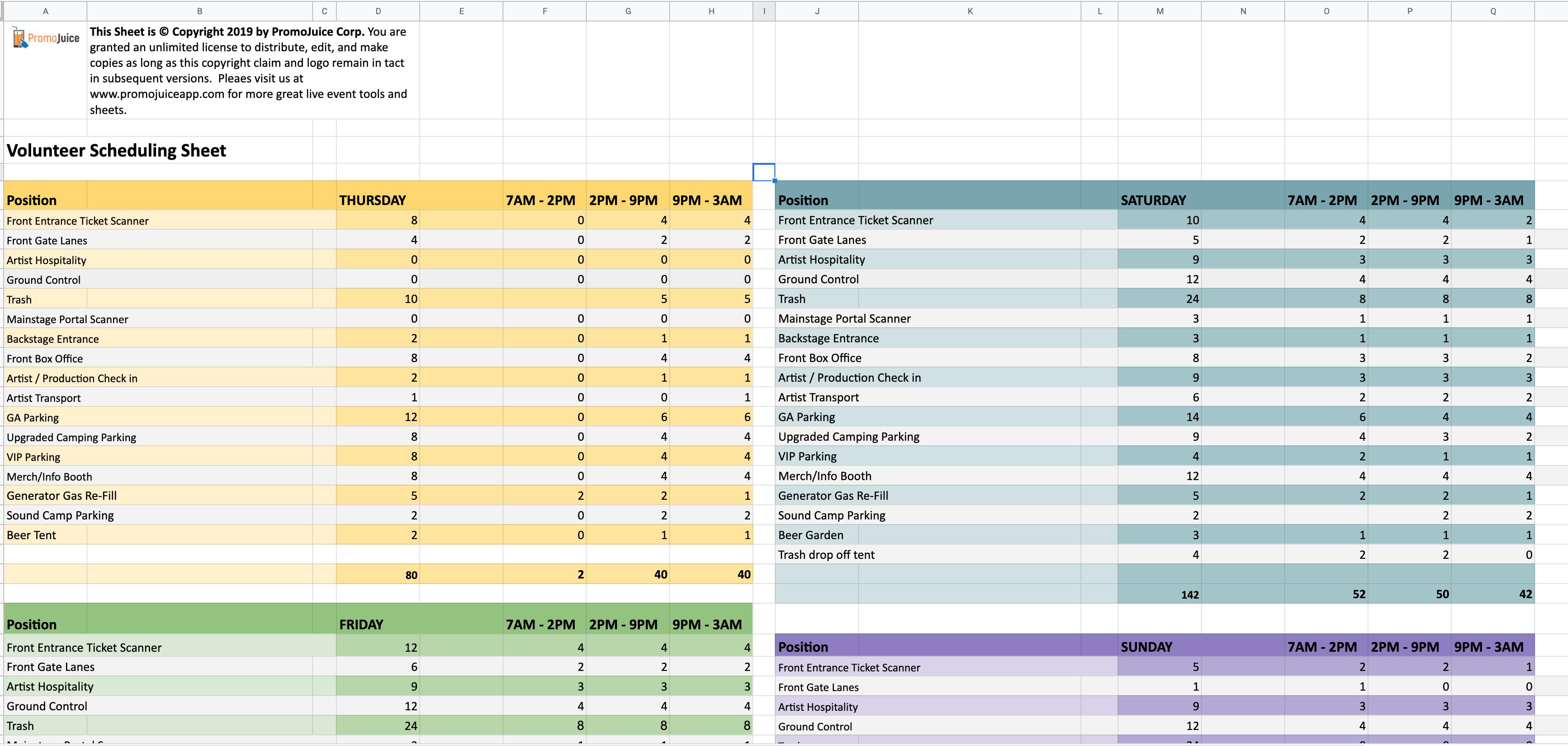 Volunteer Scheduling Sheet